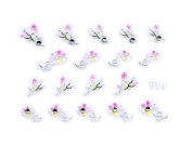 Pink/White Butterfly & Floral Rhinestone Nail Stickers/Decals