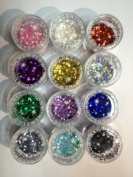 12x Mixcolor 16 Grammes Glitter Powder Dust Nail Art Tip Decoration Most. High Quality and Fashional