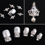 Yesurprise Crystal Crown 10 pieces Silver 3D Alloy Nail Art Slices Glitters DIY Decorations