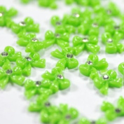 100pcs/pack Fashion Green Resin Bow Tie Nail Art Decoration