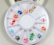 12 Colours 3D nail stickers decorated with a pattern of stars Designs Nail Art Polymer Decal Slices in Wheel
