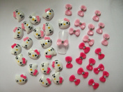 Nail Art 3d 40 Mix KITTY/BOW /RHINESTONE for Nails, Cellphones A-1