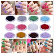 12 Colours Velvet Manicure Large Bottle Flocking Powder For Nail Art Polish Tips
