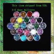 24X Mixcolor Glitter Powder Dust Nail Art Tip Decoration B0320
