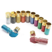 12PC Glitters Decoration Nail Art Powder Dust Bottle