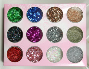 12 colours Nail Accessories Glitter flash piece gold decoration