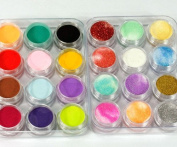 350buy 24 Colours 3D Nail Art Glitter Acrylic Powder Decoration