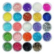 24x Mixcolor Glitter Powder Dust DIY Stylish Shining Nail Art Tip Decoration
