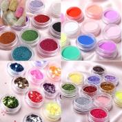 350buy 4 Styles Creative Nail Art New 12 Colours Colourful Nails Art Manicures or Pedicures Nail Art 4 PCS- Caviar Nail Art Glitter Powder Party Glitter Powder Multi Pink Nail Glitter Kit