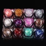 Yesurprise 12Pots/Set Multicolor Glitter Soak Off Uv Gel Nail Art Diy Decorations #02