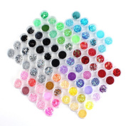Yesurprise 80 Boxes Nail Glitter Powder Dust Paillette Spangles Nail Art Decoration