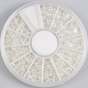 350BUY 1200pcs Nail Art White Pearl Beads Decoration sizes 3/2/1.5 mm with Wheel