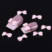 350BUY New 10 pcs Pink Bow Tie Alloy 3D Clear Rhinestone Nail Art Slices DIY Decoration