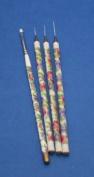 Flower Handle Nail Art Brush 4 Pcs Set