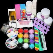 Acrylic Powder Liquid Kits Uv Gel Nail Art Tip Set Dust Stickers Brush