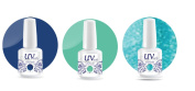 UV-Nails Soak-Off Gel Set Deep Lagoon (224,216,217) 2 Polishes & 1 Glitter 15ml + Aviva Nail Buffer