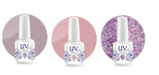 UV-Nails Soak-Off Gel Set Purple Rain (221,209,210) 2 Polishes & 1 Glitter 15ml + Aviva Nail Buffer