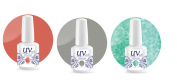 UV-Nails Soak-Off Gel Set Romantic Getaway (225,207,211) 2 Polishes & 1 Glitter 15ml + Aviva Nail Buffer
