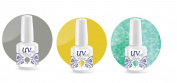 UV-Nails Soak-Off Gel Set Sporty Day (225,206,207) 2 Polishes & 1 Glitter 15ml + Aviva Nail Buffer