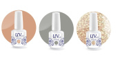 UV-Nails Soak-Off Gel Set Wedding Bells (223,207,208) 2 Polishes & 1 Glitter 15ml + Aviva Nail Buffer
