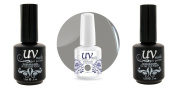 UV-Nails Soak-Off Gel Silver Bullet G34+Base & Top Coat+Aviva Nail Buffer & File