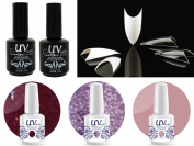 Cala 100 Nail Tips Stiletto Clear #87-128C+UV-Nail Glitter Gel GL1,GL2,G14+Top & Base Coat