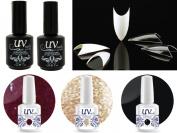Cala 100 Nail Tips Stiletto Clear #87-128C+UV-Nail Glitter Gel GL1,GL4,G1+Top & Base Coat