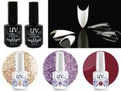 Cala 100 Nail Tips Stiletto Clear #87-128C+UV-Nail Glitter Gel GL2,GL4,G4+Top & Base Coat
