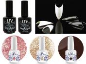 Cala 100 Nail Tips Stiletto Clear #87-128C+UV-Nail Glitter Gel GL3,GL4,G3+Top & Base Coat