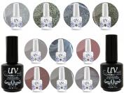 Professional UV Nail Gel Big Collection Feng Shui Vibrant 4 glitters+6 gels+Base & Top+Aviva Nail Buffer & File