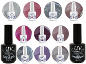 Professional UV Nail Gel Big Collection Moonlight Vibrant 4 glitters+6 gels+Base & Top+Aviva Nail Buffer & File