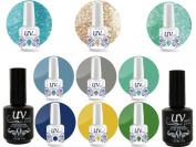Professional UV Nail Gel Big Collection Exotic Jungle Vibrant 3 glitters+6 gels+Base & Top+ Aviva Nail Buffer