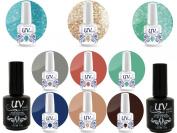 Professional UV Nail Gel Big Collection Oasis Paradise Vibrant 3 glitters+6 gels+Base & Top+ Aviva Nail Buffer