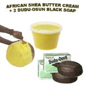 African Shea Butter Cream 470ml (100% Pure & Raw) & DuDu-Osun Black Soap