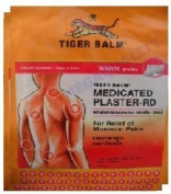 BIG Size Tiger Balm Patch Plaster Warm Medicated Pain Relief 4 Pcs.(10x14 Cm.)., Thailand.