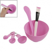 Facial Skin Care Mask Mixing Bowl Stick Brush Gauge Spoon Set Pink by Rosallini