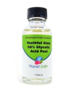 Youthful Glow 50% Glycolic Acid Peel with Free Treatment Fan Brush- Full Strength Cosmetic Grade Unbuffered
