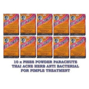 10 X Pises Powder Parachute Thai Acne Herb Anti Bacterial for Pimple Treatment Product of Thailand