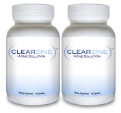 ClearZine (2 Bottles) - The Top Rated Acne Treatment Pill. Eliminates Blotchiness, Redness, Blackheads and Zits