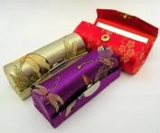 Random Assorted Colours--Lipstick Case 3pcs Set Lipstick Case w/Mirror,Satin Silky Fabric With Floral Prints Assorted 8.9cm L x 3.2cm W Holds 1pc Standard Lipstick Super Value