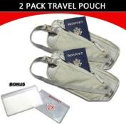 Travel Pouch Compact Security/ Hidden Money Waist Belt - 2 Pack + BONUS
