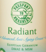 Organic Radiant Advanced Anti-Ageing Cream with Egyptian Geranium, DMAE, MSM, Paraben Free