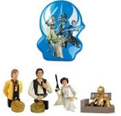 4 Star Wars Mini Build-Up Figures with Clone Wars Cake Topper - Clone Wars Cake Bundle