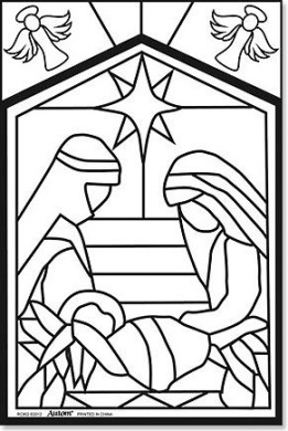 Kids christmas arts craft holy family nativity colour for Christmas stained glass window templates