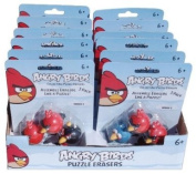 Angry Birds Puzzle Erasers Toy Figure Box Set / WHOLESALE LOT / Includes 36 Erasers in Total. RED , BLACK , BLUE & GREEN