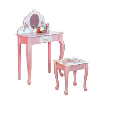 Teamson Kids Girls Oval Vanity Table And Stool Set