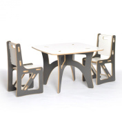 Sprout Kids Table and 2 Chairs, Grey and White