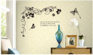 Butterfly Vine Large Flower Wall Stickers / Wall Decals Vinyl Art Decal Floral Decoration Black