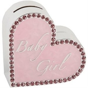 Baby Girl Silver Heart Money Box
