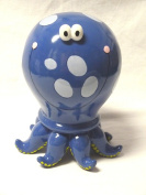 Ceramic Octopus Bank - Coin Bank, Piggy Bank - Blue with Dots - 23cm Tall X 18cm Wide